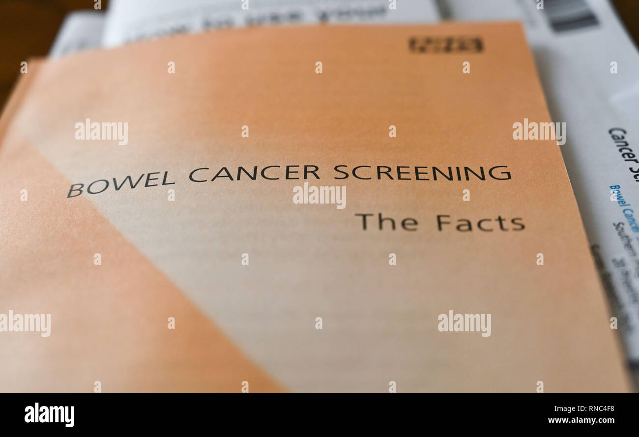 NHS Bowel cancer Screening leaflet which is sent out to people over 60 years of age in Britain - Stock Image