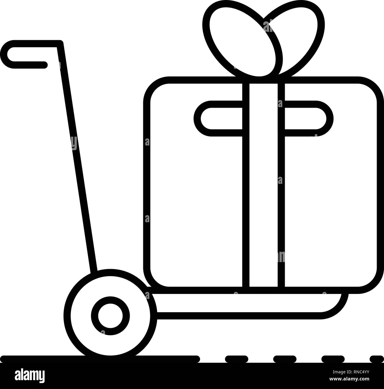 Cart parcel delivery icon, outline style - Stock Vector