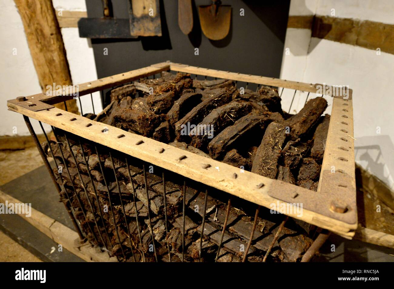 Peat in a historic barn at the museum village in Cloppenburg (Germany), 31 October 2018. | usage worldwide - Stock Image