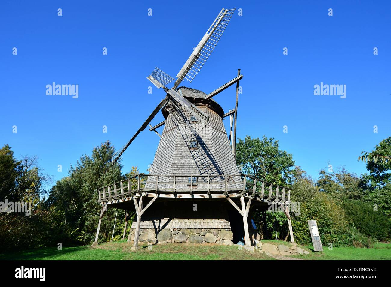 A historic cap windmill at the museum village in Cloppenburg (Germany), 31 October 2018. | usage worldwide - Stock Image