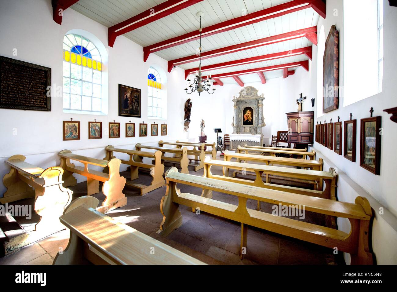 Interior of a historic church at the museum village in Cloppenburg (Germany), 31 October 2018. | usage worldwide - Stock Image