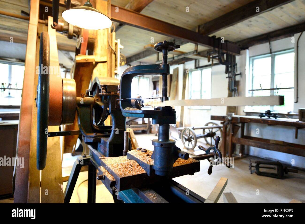 A workshop of a coachbuilder at the museum village in Cloppenburg (Germany), 31 October 2018. | usage worldwide - Stock Image