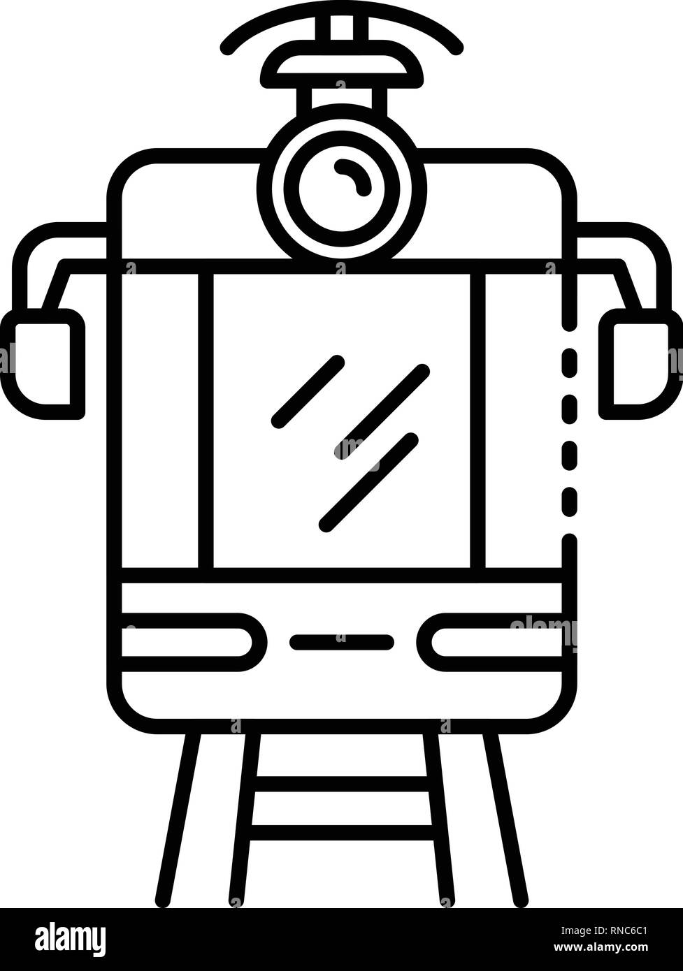 Tram car icon, outline style - Stock Vector