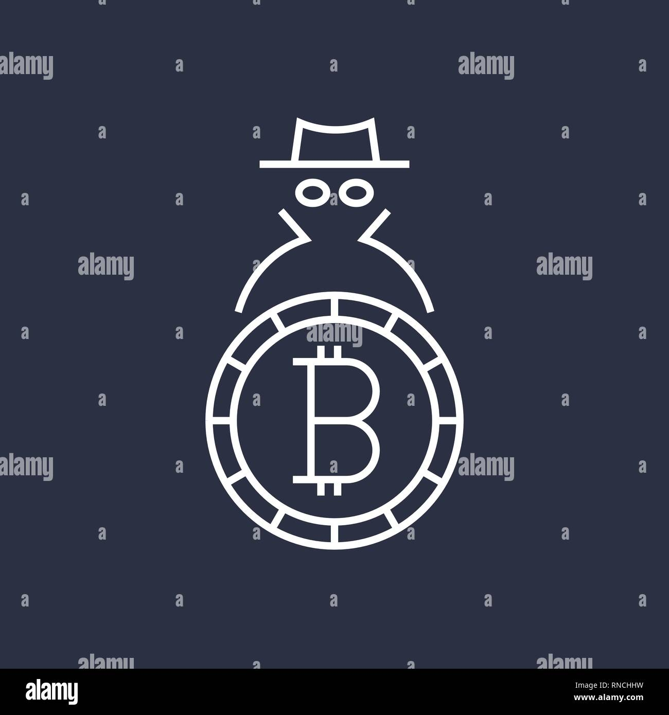 Bitcoin cryptocurrency blockchain flat logo. Use for logos, print products, page and web decor or other design. Editable Stroke. - Stock Vector