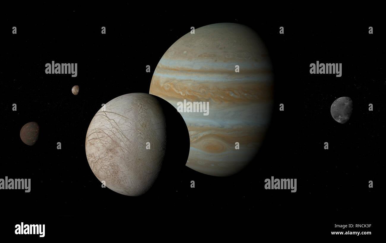 Moons of Jupiter - Io, Europa, Ganymede, and Callisto. - Stock Image