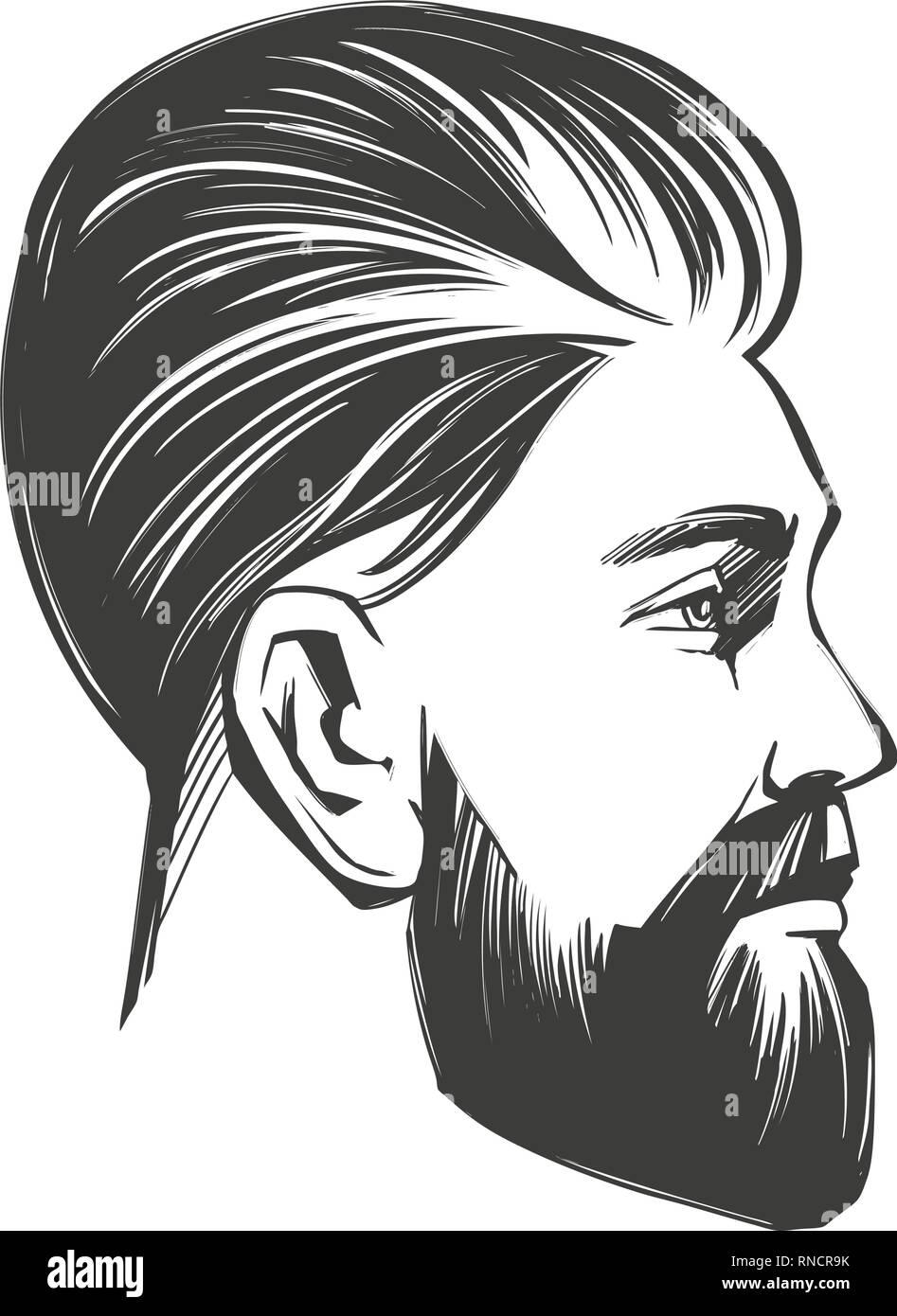 Bearded Man In Profile Barbershop Hairstyle Haircut Hand Drawn