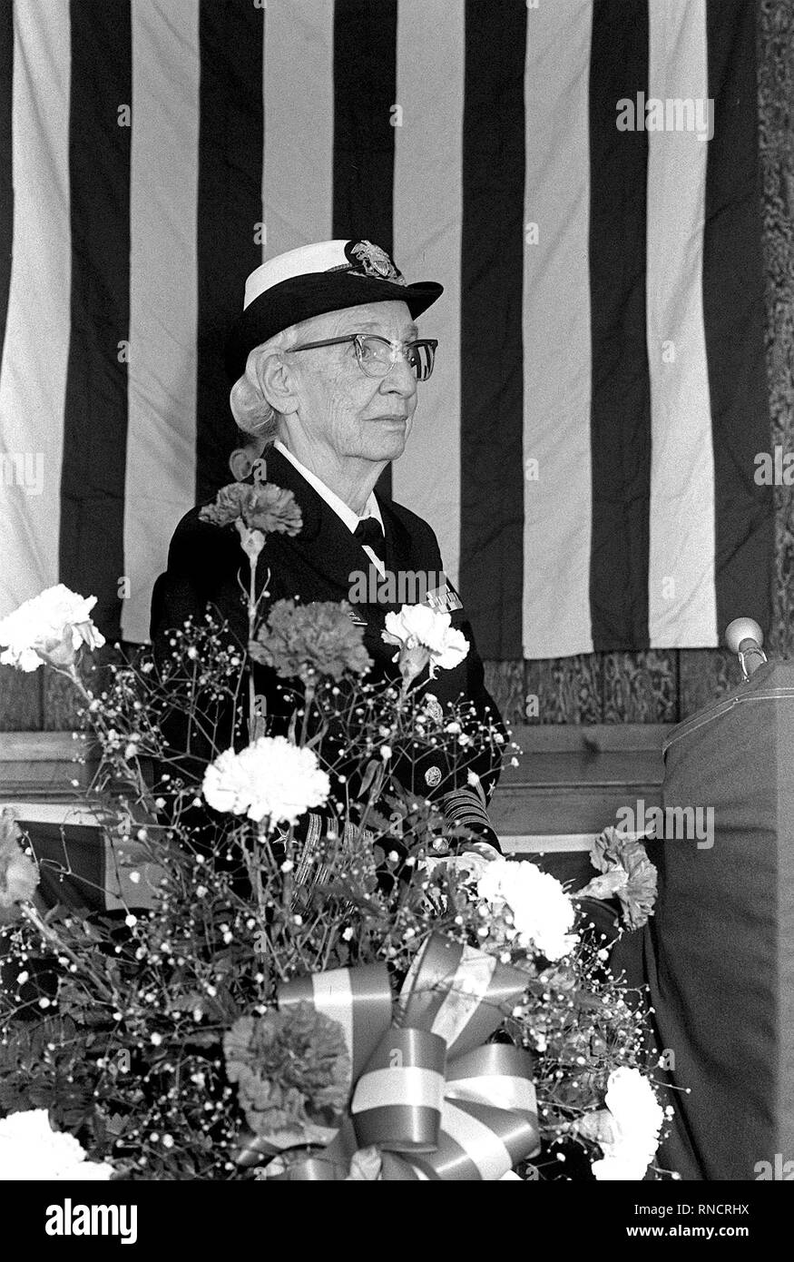 1983 - Capt. Grace Murray Hopper attends a ceremony taking place to dedicate a center for computer learning in her name at Brewster Academy. - Stock Image