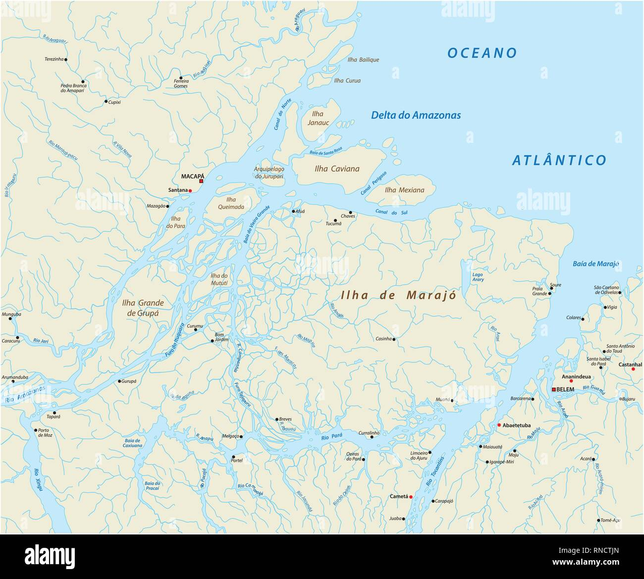 Detailed vector map of the mouth of the Amazon River in the Atlantic Ocean, Brazil - Stock Image