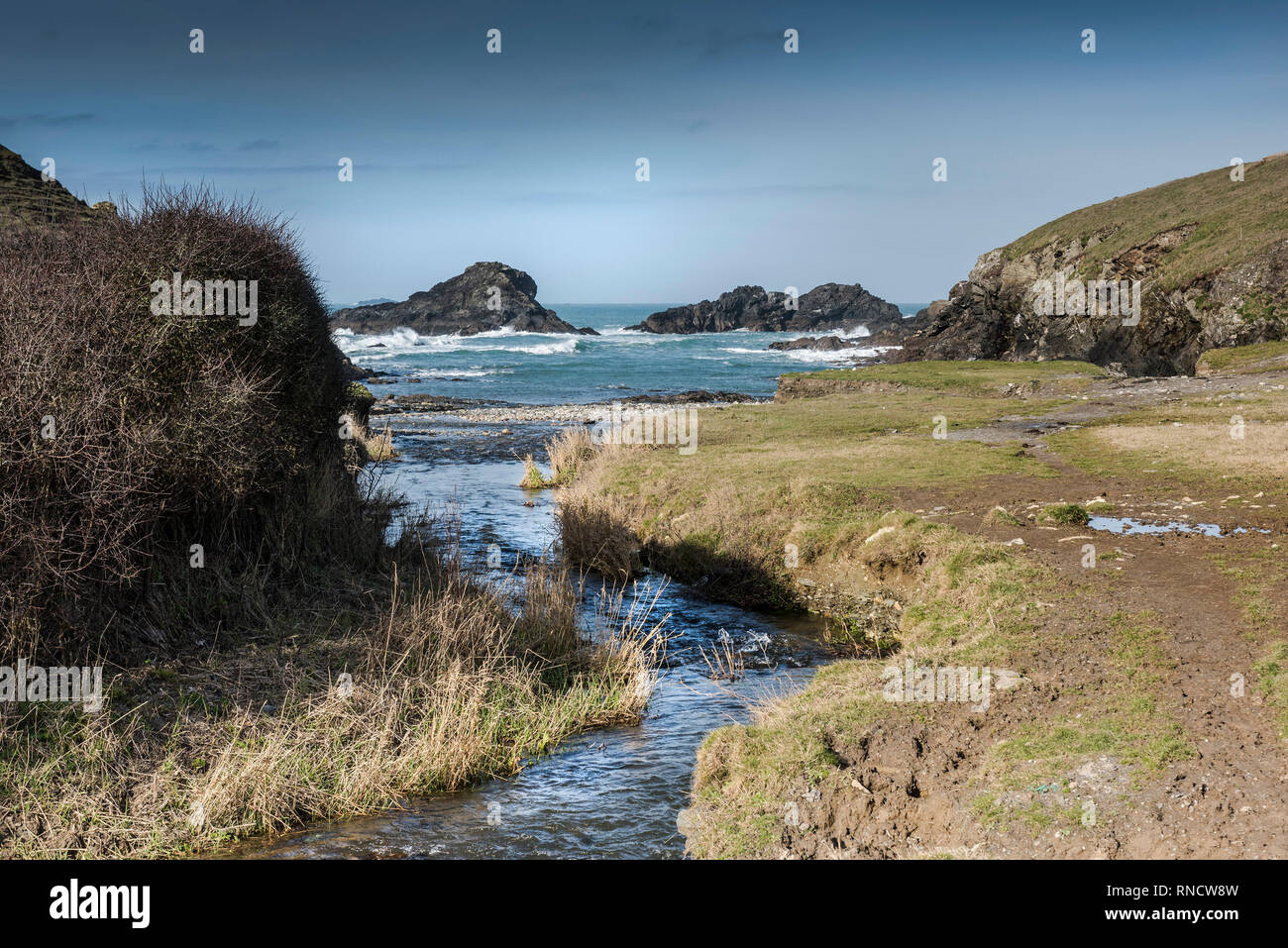 The secluded Porth Mear Cove on the North Cornwall coast. - Stock Image