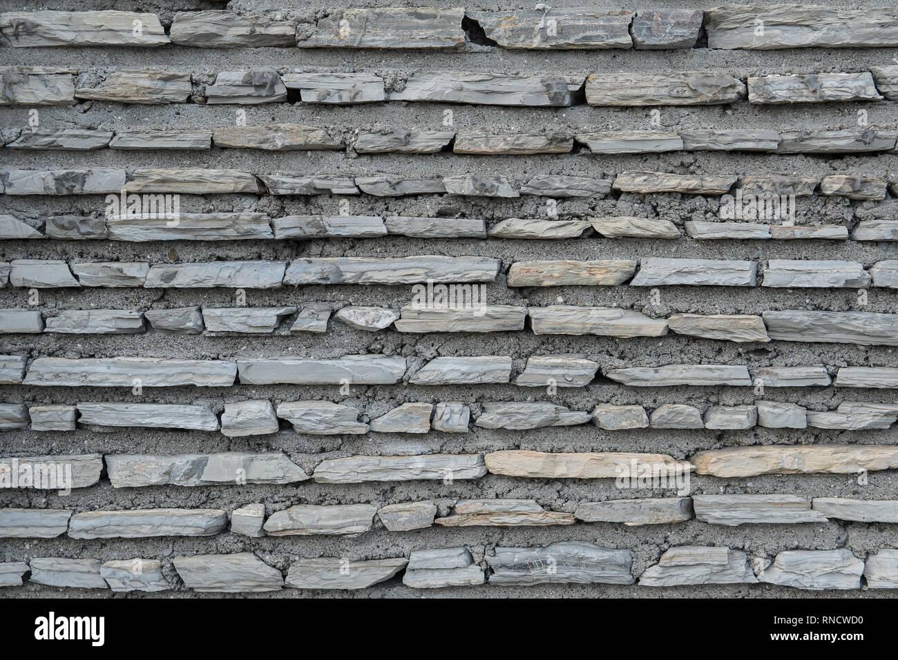 Flat Bricks With Cement Texture Stone Surface Closeup