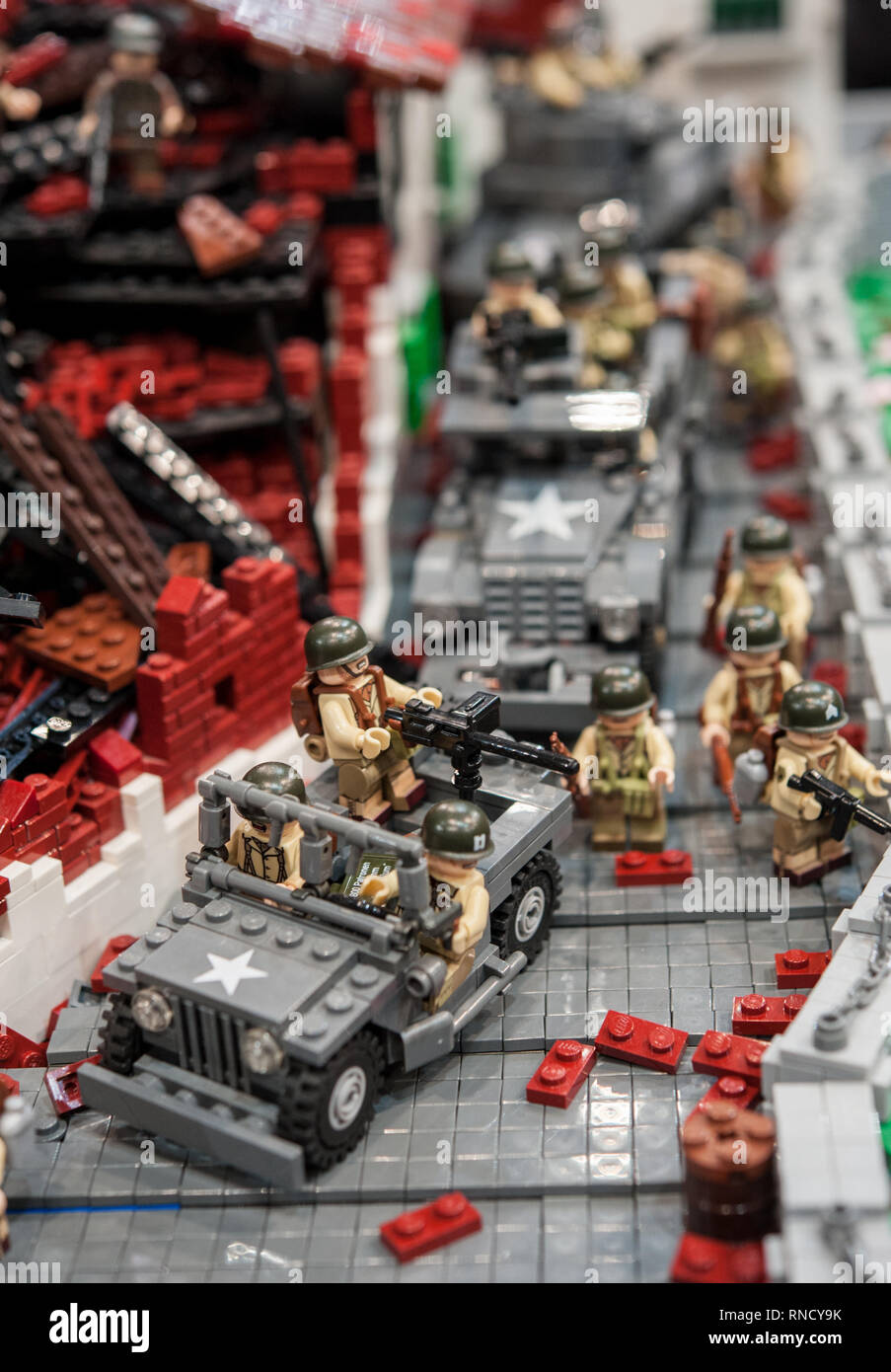 Detail of war theatre plastic model, with military jeep and destroyed buildings Stock Photo
