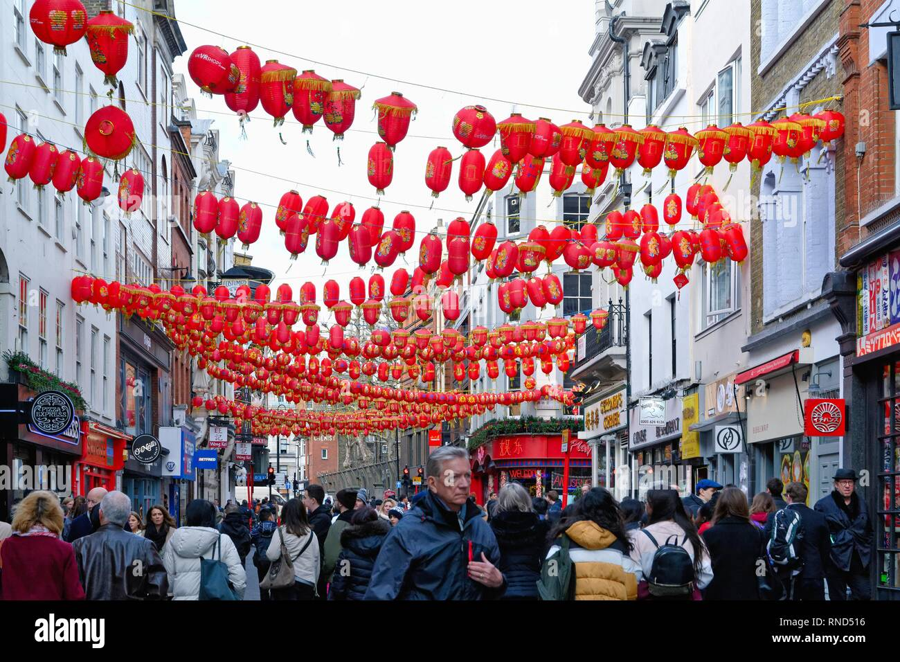 The Chinatown area in central London with the streets decorated with many red Chinese lanterns England UK - Stock Image