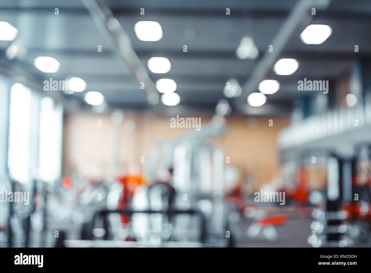 Fitness Gym background Focus on the Bench and blurred Gym