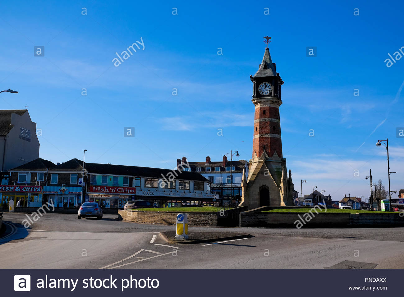 The Clock Tower, Skegness in Winter, Lincolnshire, UK. Stock Photo