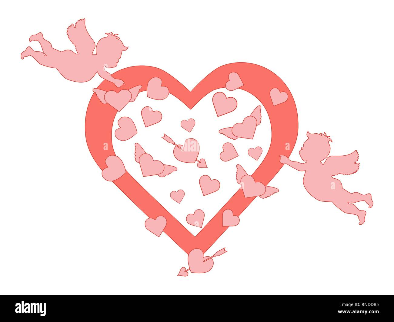 Vector Illustration With Cupids Hearts Arrow Happy Valentine S