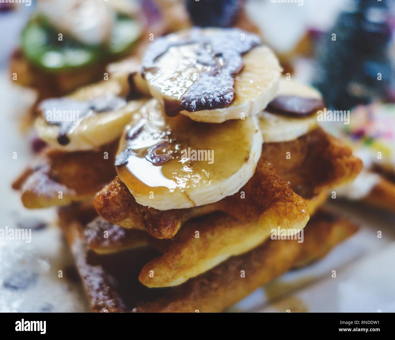 Cloweup of Banana Chocolate Waffles - Stock Image