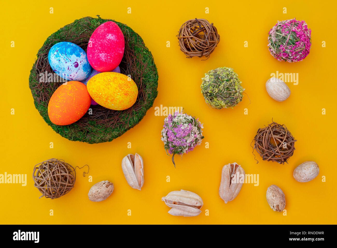 Colorful handmade easter eggs. Festive tradition. Stock Photo