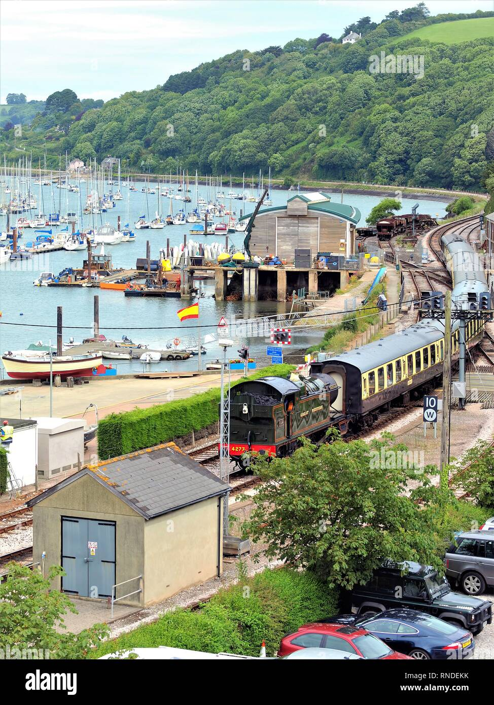 Kingswear, Devon, UK. June 17, 2009. The steam train arriving at Kingswear station from Paignton running by the side of the river Dart at Devon, Engla Stock Photo