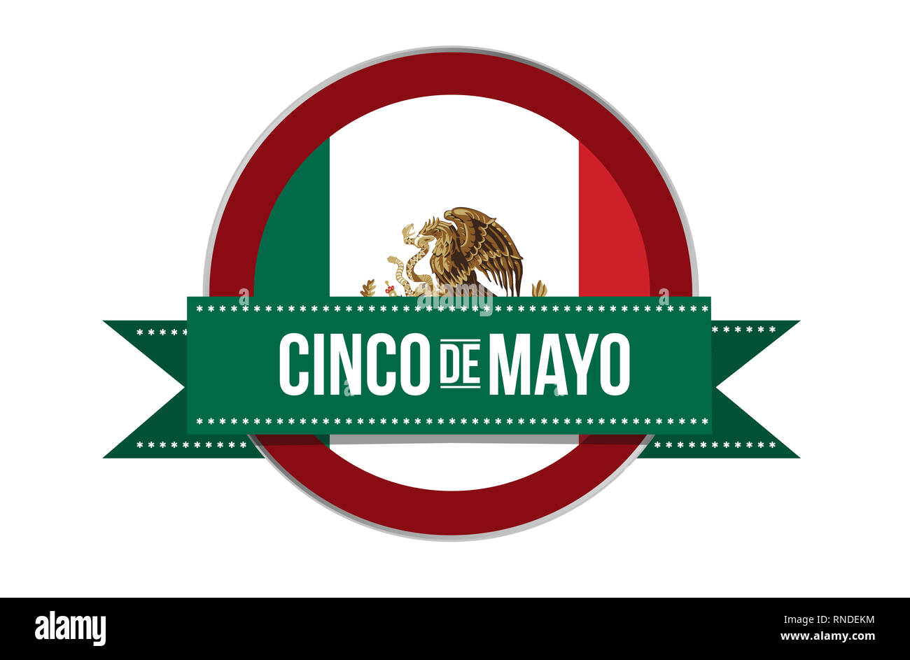 Cinco de Mayo Mexican puebla celebration seal illustration isolated over a white background Stock Photo