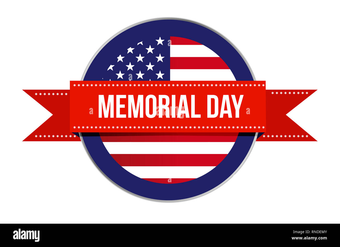 Memorial day sign seal icon illustration isolated over a white background Stock Photo