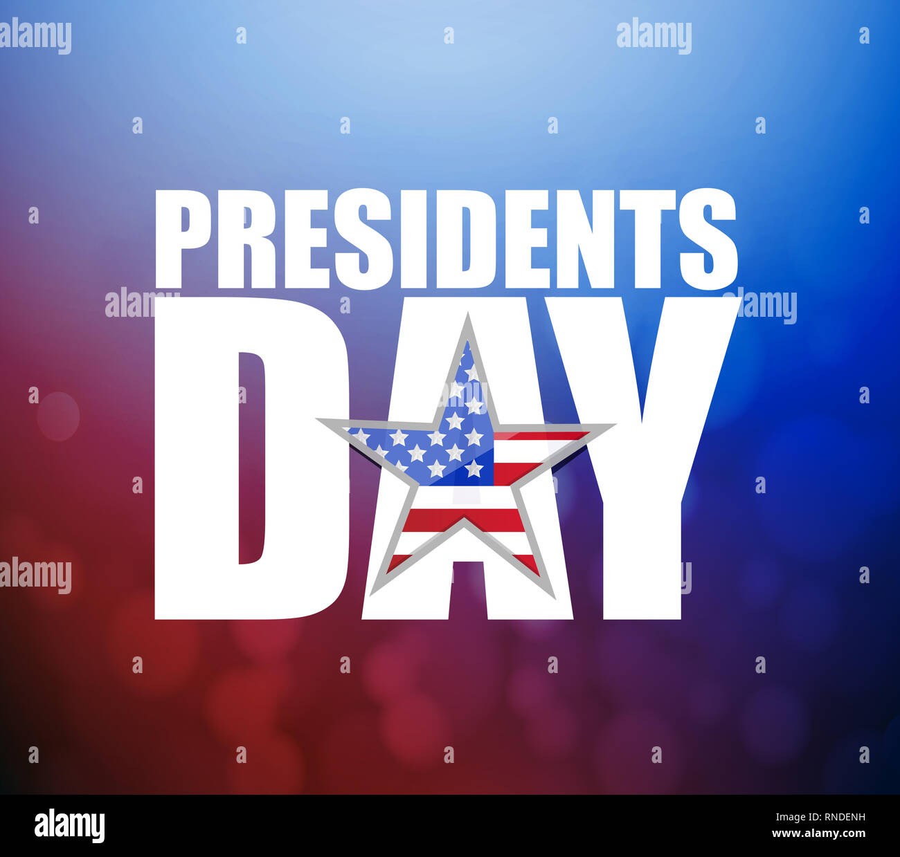Presidents day sign illustration booked background. US patriotic background Stock Photo