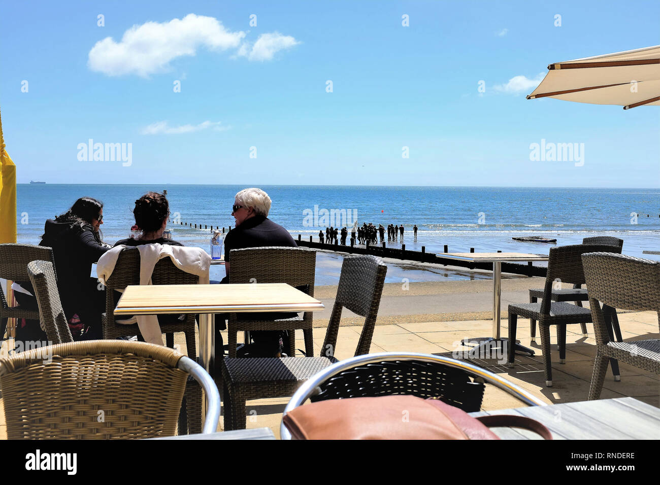 Sandown, Isle of Wight, UK. June 18,2018.  Teachers watching over the school children taking lessons in Water safety on the beach at Sandown on the Is - Stock Image