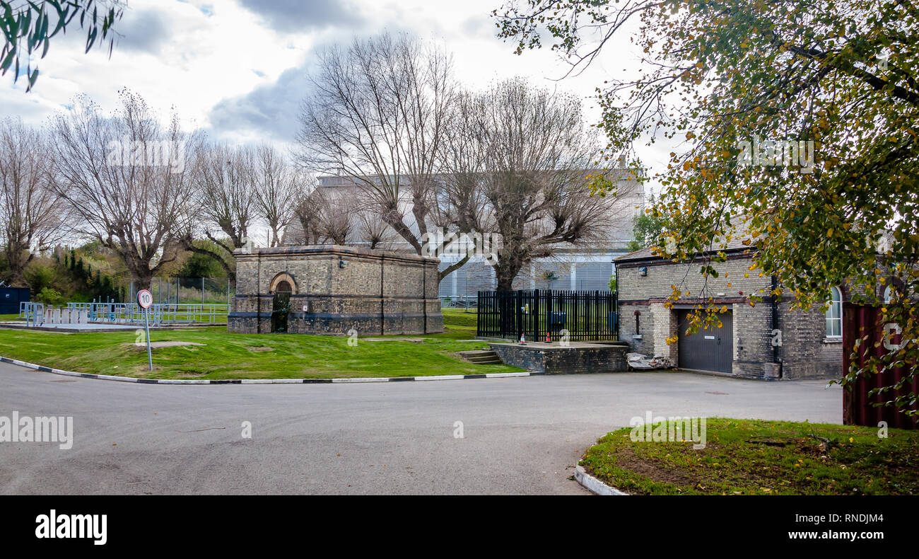 F Station, Modern pumping station, Abbey Mills Pumping Station, Stratford, London, England, Uk - Stock Image