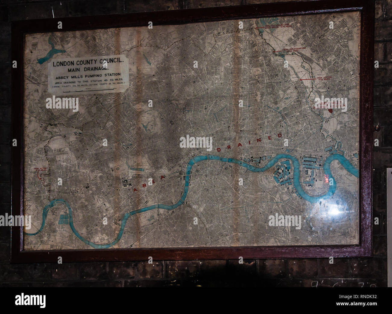 Map of main drainage Abbey Mills Pumping Station, Stratford, London, England, Uk - Stock Image