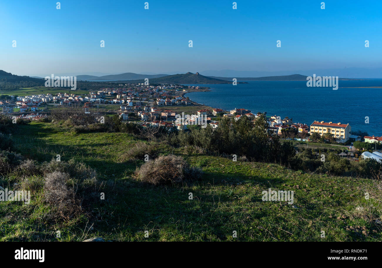 The only island open to settlement in 22 islands, which are called Ayvalık Adalar in Ayvalık Bay, is Alibey. Is the 4th largest island in the Aegean S - Stock Image