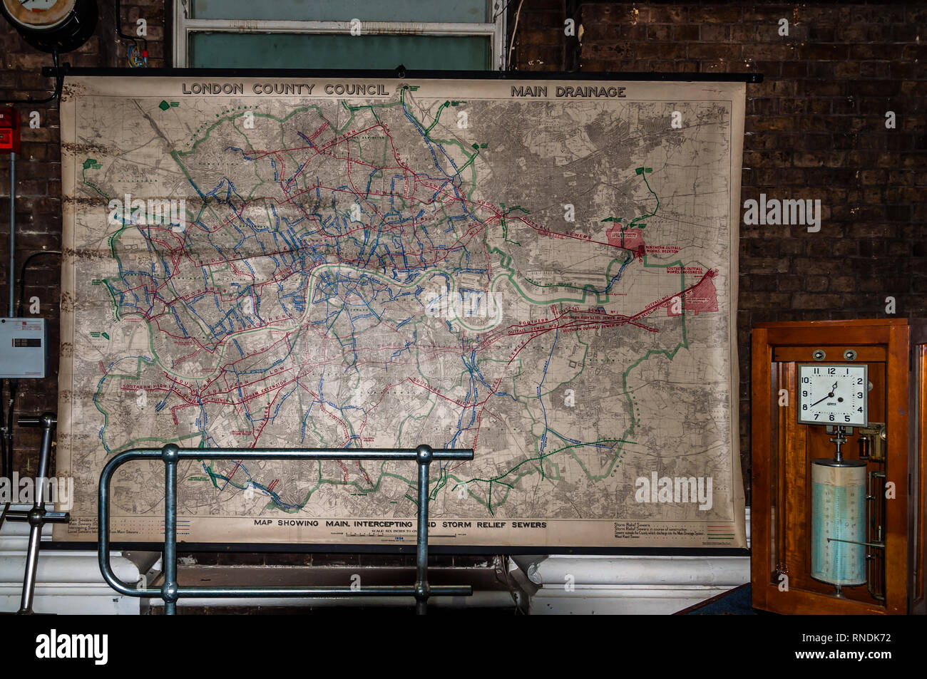 Map storm Relief sewers, Abbey Mills Pumping Station, Stratford, London, England, Uk - Stock Image