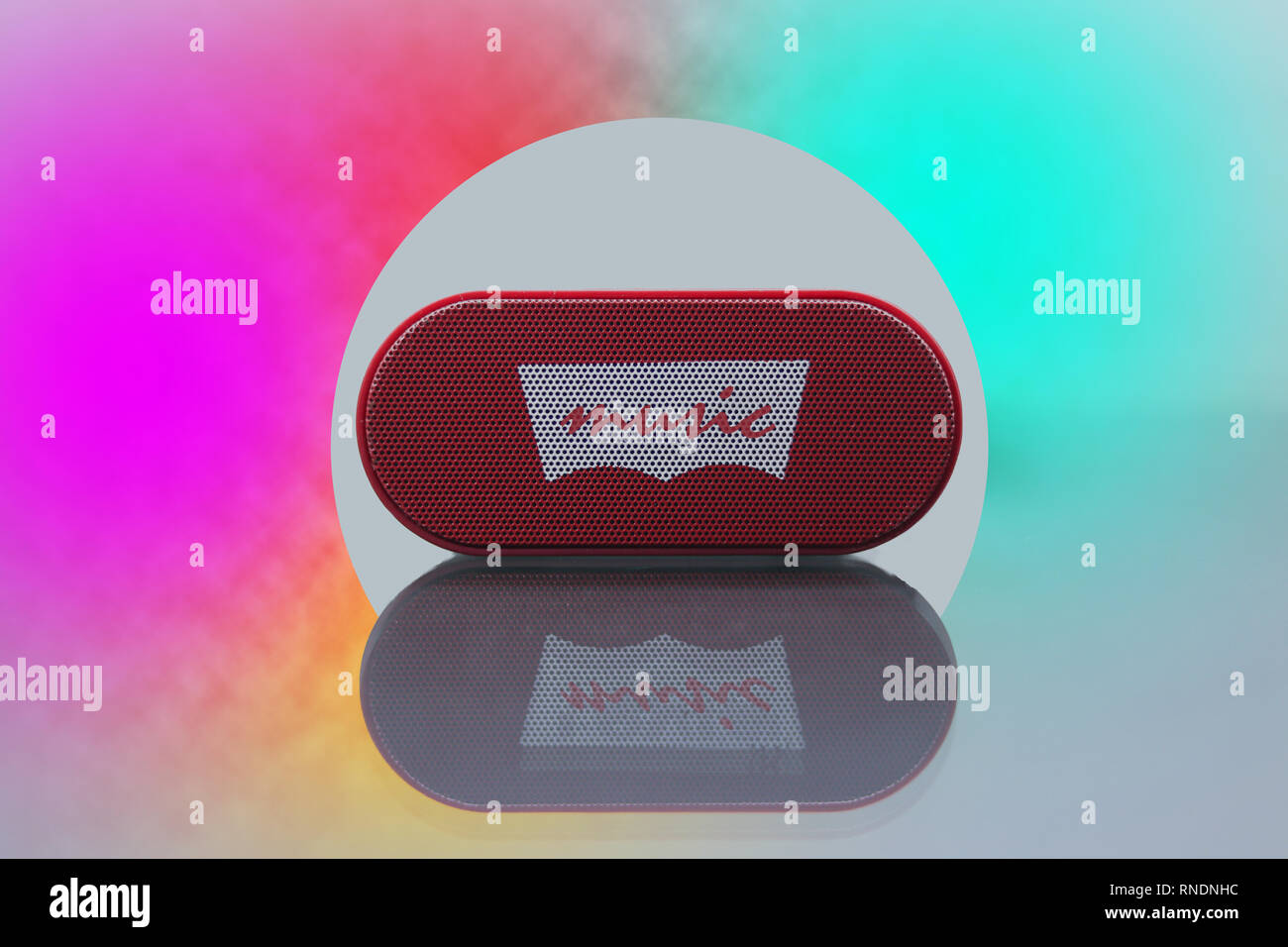 Bluetooth Speaker Isolated In Beautiful Background Stock Photo Alamy