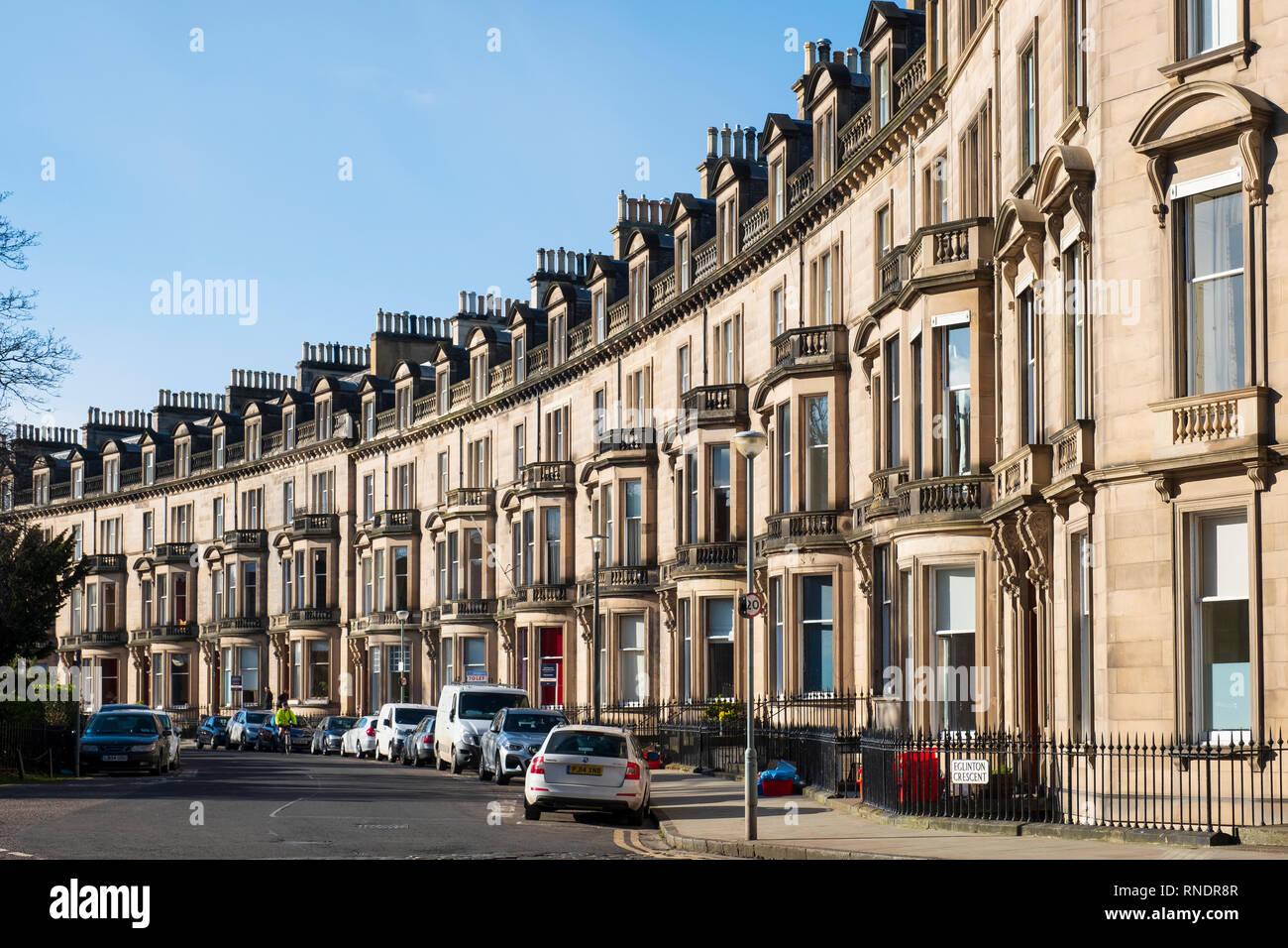 Terraced townhouses at Eglinton crescent in Edinburgh West End , Scotland UK - Stock Image