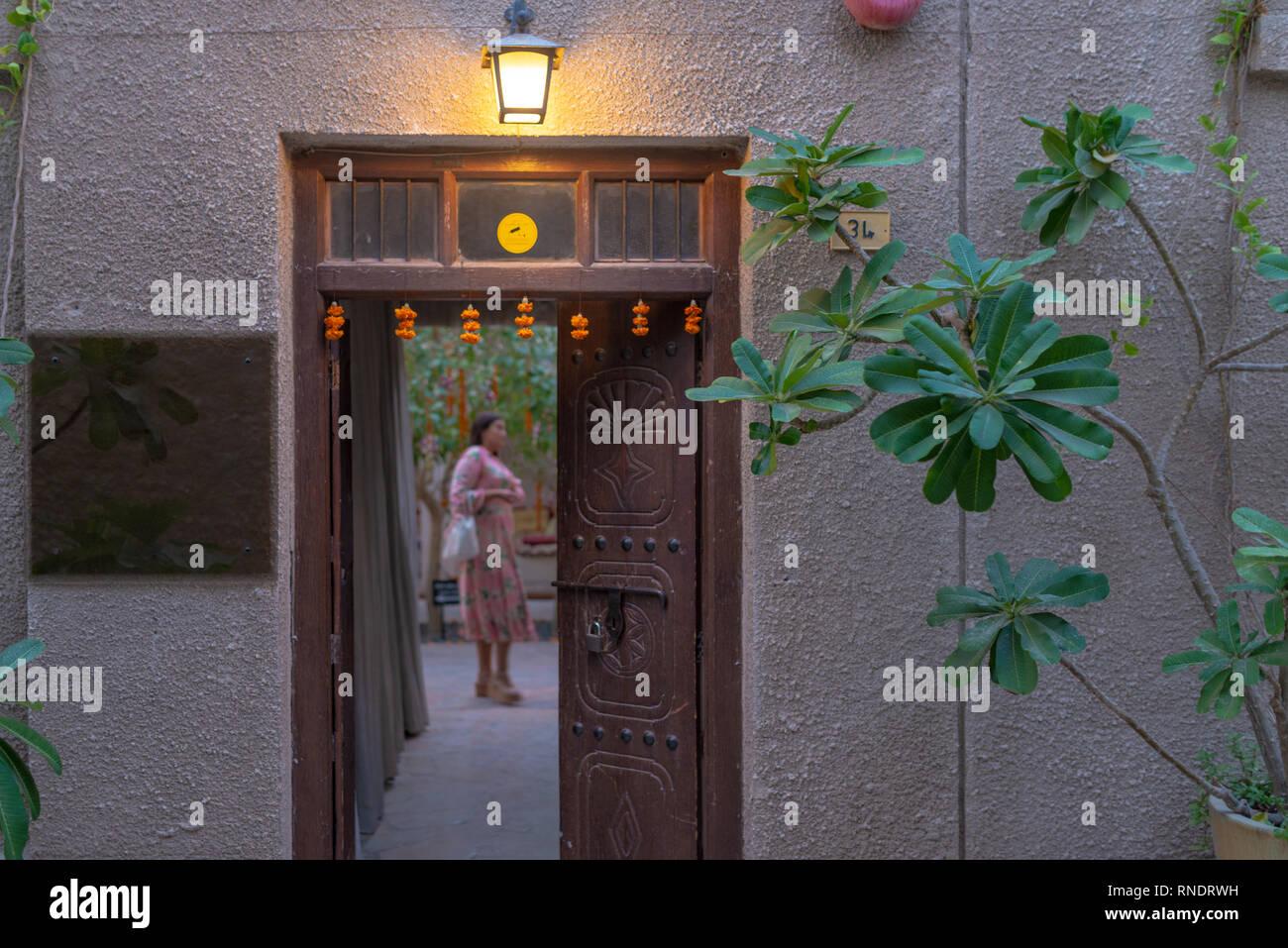 Entrance of a boutique hotel  in Al Fahidi Historical District (Bastakiya), Dubai, United Arab Emirates - Stock Image