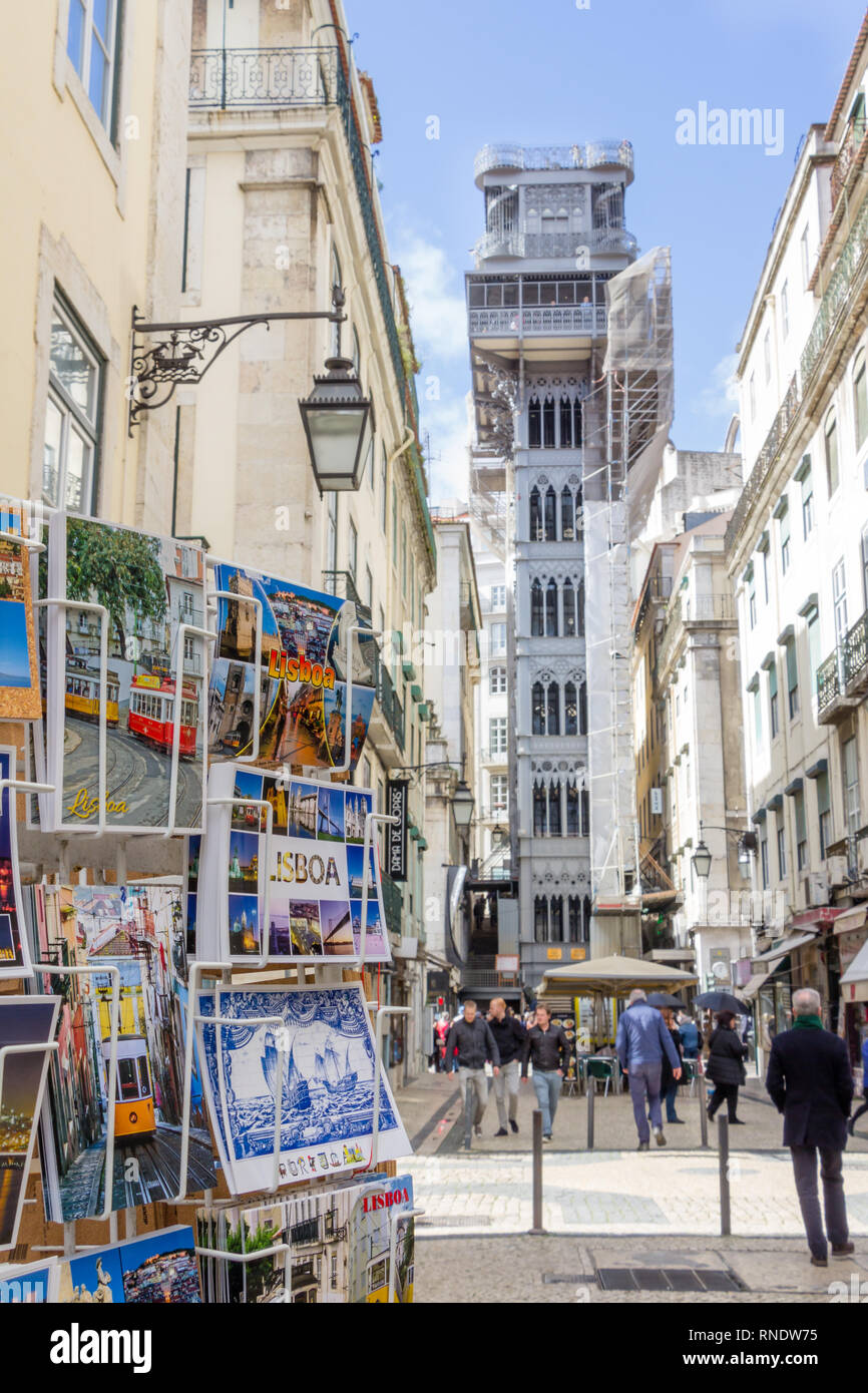 LISBON, PORTUGAL - March 5, 2016: Santa Justa elevator with postcards in the front in Lisbon, Portugal - Stock Image