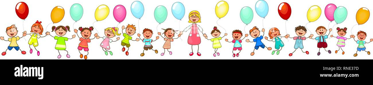 Joyful little children and a teacher. A group of happy, smiling children with balloons. A group of children with a teacher on a walk. Group of cheerfu - Stock Vector