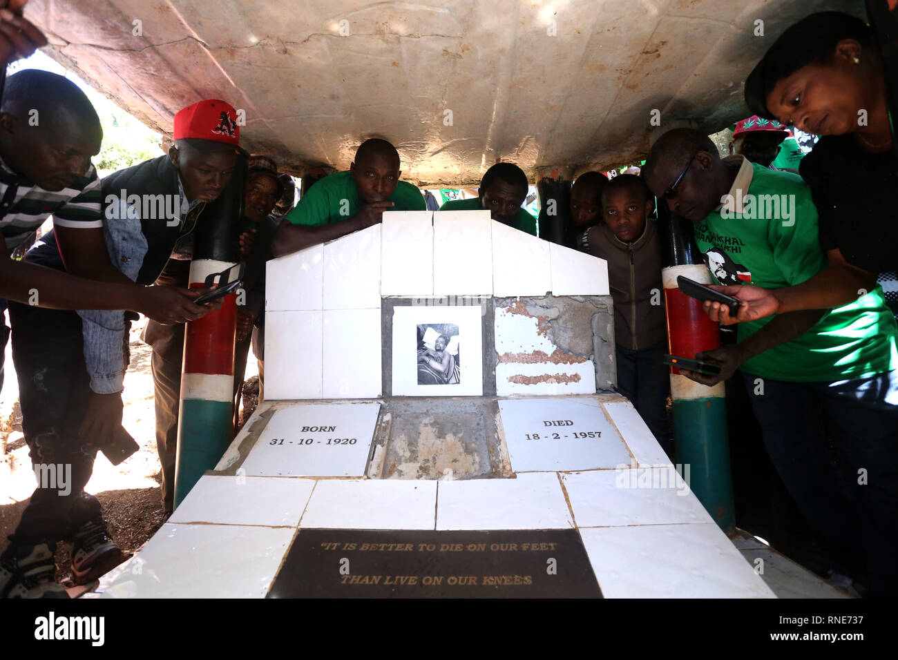 Nyeri, Kenya. 18th Feb, 2019. People are seen at Kenya's freedom fighter Dedan Kimathi's shrine during the commemoration.Kenya's freedom fighters against British colonial rule called ''˜Mau Mau' commemorated the execution of their leader Dedan Kimathi on February 18, 1957. His body was buried at an unknown grave, widow Mukami Kimathi wants his grave disclosed and remains exhumed for a decent burial. Credit: Billy Mutai/SOPA Images/ZUMA Wire/Alamy Live News - Stock Image