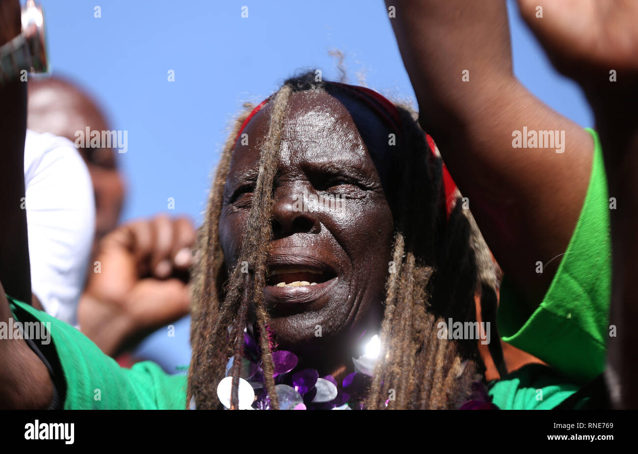 Nyeri, Kenya. 18th Feb, 2019. Some of the freedom fighters who pulled together under the movement seen reciting songs during the commemoration.Kenya's freedom fighters against British colonial rule called ''˜Mau Mau' commemorated the execution of their leader Dedan Kimathi on February 18, 1957. His body was buried at an unknown grave, widow Mukami Kimathi wants his grave disclosed and remains exhumed for a decent burial. Credit: Billy Mutai/SOPA Images/ZUMA Wire/Alamy Live News - Stock Image