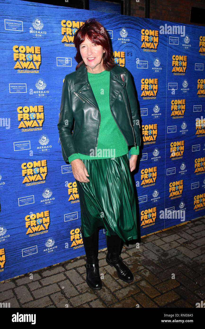 London, UK. 18th Feb 2019. Janet Street-Porter at Red carpet arrivals at preview of Come From Away the Tony-winning musical telling the true story of 7000 stranded air passengers during the wake of 9/11, and the small town in Newfoundland which welcomed them. at Phoenix Theatre Credit: Nils Jorgensen/Alamy Live News - Stock Image