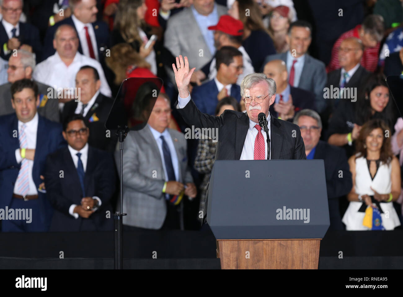 Miami, United States Of America. 18th Feb, 2019. President Donald Trump and First Lady Melania Trump attend a rally at Florida International University on February 18, 2019 in Miami, Florida. President Trump spoke about the ongoing crisis in Venezuela.  People: National Security Advisor John Bolton Credit: Storms Media Group/Alamy Live News Stock Photo