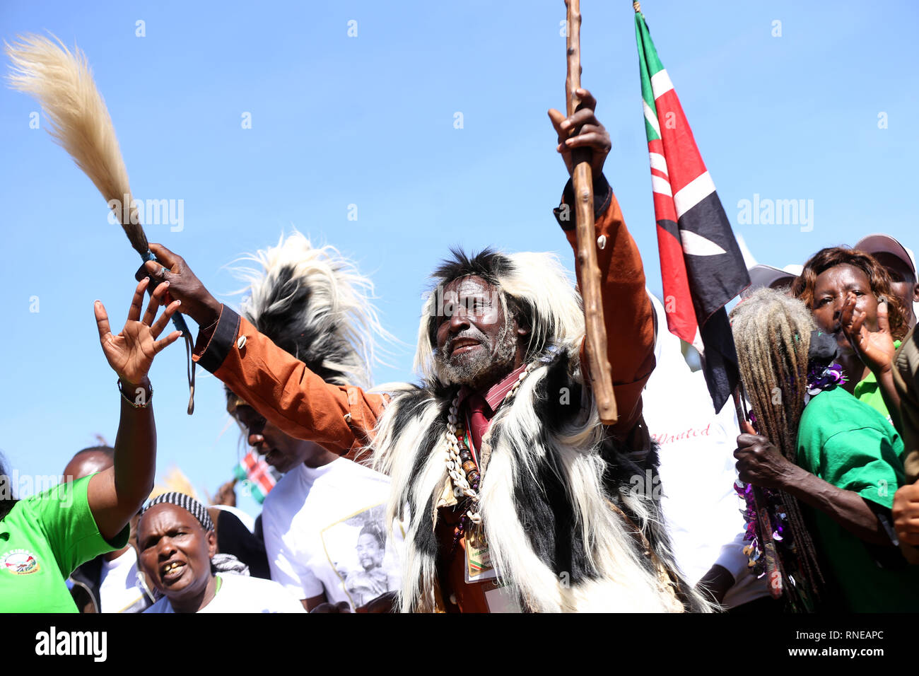 Some of the freedom fighters who pulled together under the movement seen reciting songs during the commemoration. Kenya's freedom fighters against British colonial rule called 'Mau Mau' commemorated the execution of their leader Dedan Kimathi on February 18, 1957. His body was buried at an unknown grave, widow Mukami Kimathi wants his grave disclosed and remains exhumed for a decent burial. - Stock Image