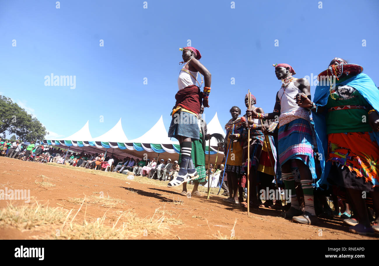 Kenya's traditional dancers seen performing during the commemoration. Kenya's freedom fighters against British colonial rule called 'Mau Mau' commemorated the execution of their leader Dedan Kimathi on February 18, 1957. His body was buried at an unknown grave, widow Mukami Kimathi wants his grave disclosed and remains exhumed for a decent burial. - Stock Image