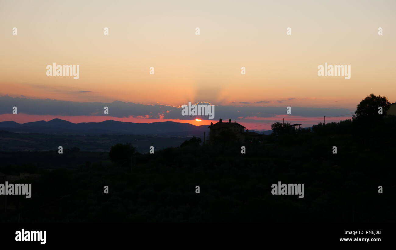Sunset over rural  Umbrian Countryside, Italy - Stock Image