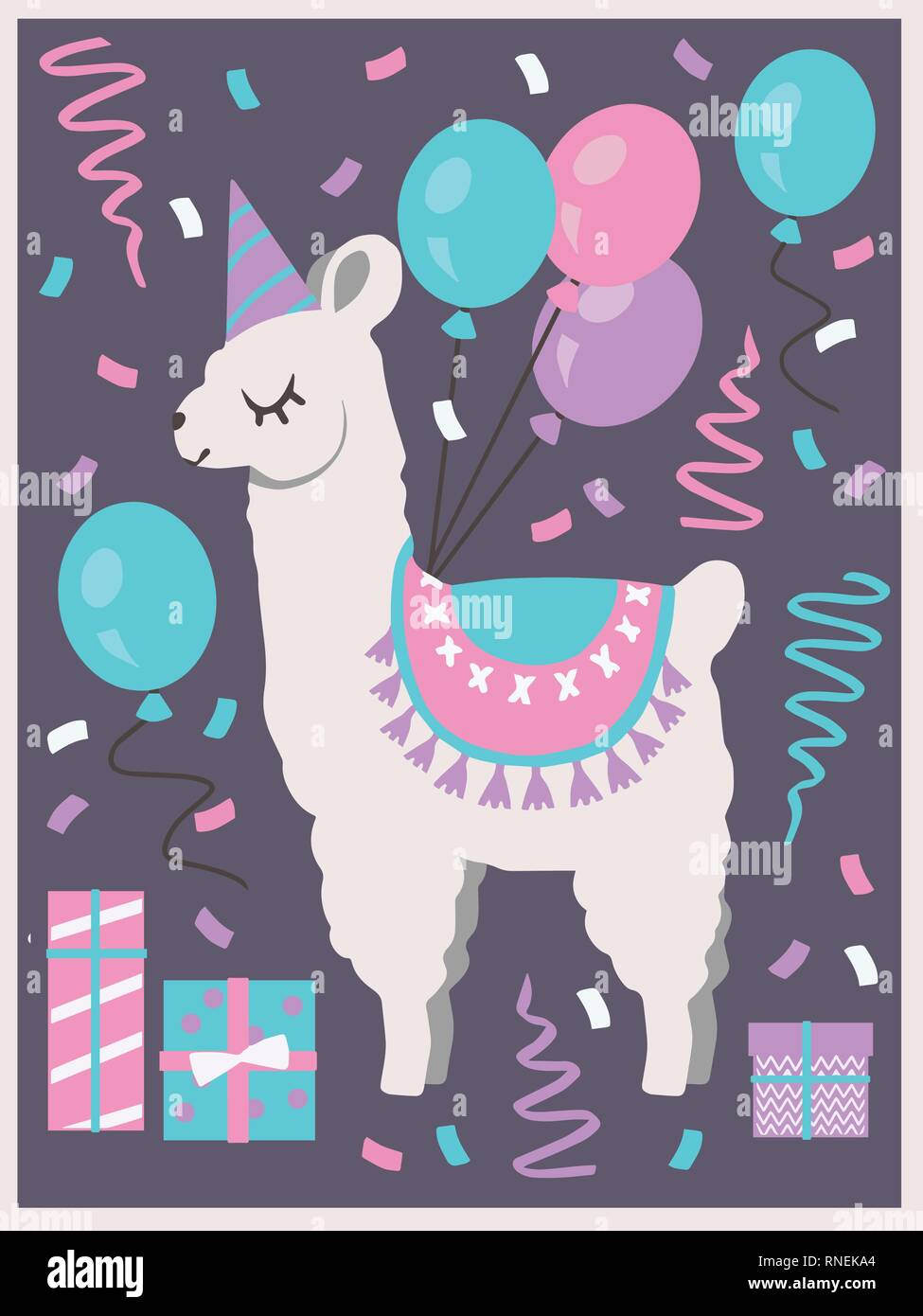 Cute White Llama Or Alpaca With Party Hat Gift Boxes Balloons And Confetti Birthday Greeting Card Vector Art Motive