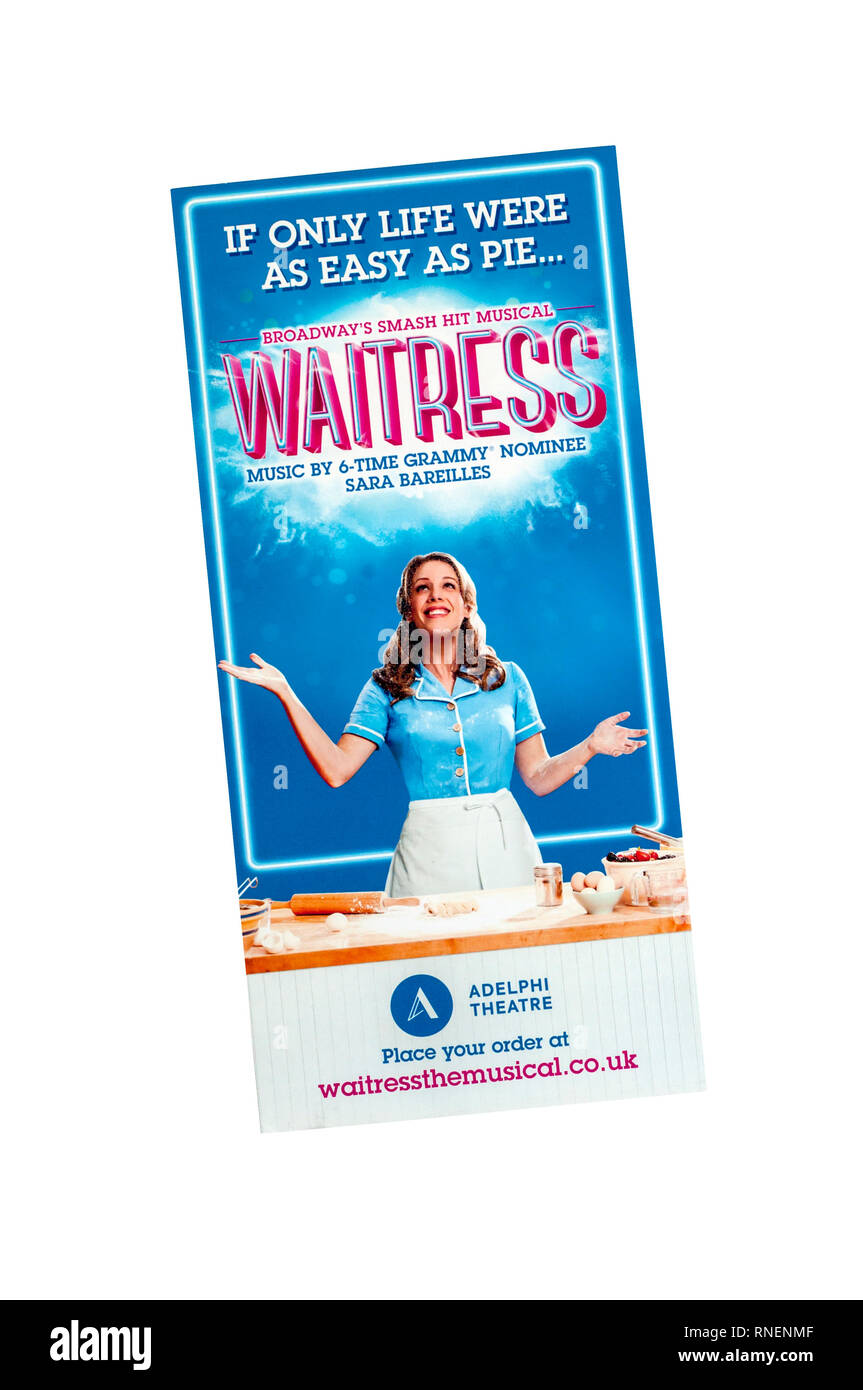 Promotional flyer for 2019 production of Waitress, the musical by Sara Bareilles at the Adelphi Theatre. - Stock Image
