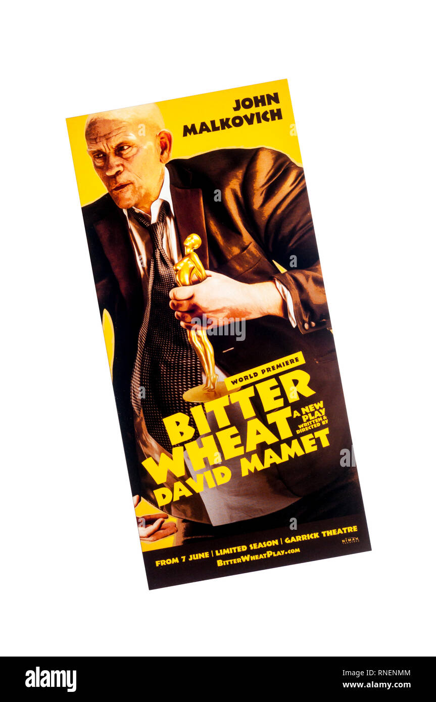 Promotional flyer for 2019 world premiere production of Bitter Wheat by David Mamet, at the Garrick Theatre.  Starring John Malkovich. - Stock Image
