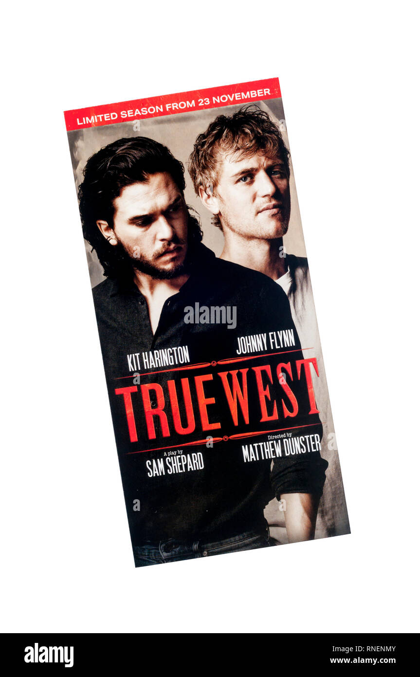 Promotional flyer for 2018 production of True West by Sam Shepard, at the Vaudeville Theatre, with Kit Harington and Johnny Flynn. - Stock Image
