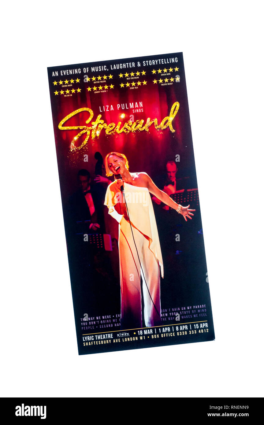Promotional flyer for Liza Pulman sings Streisand, featuring the songs of Barbra Streisand.  At the Lyric Theatre. - Stock Image