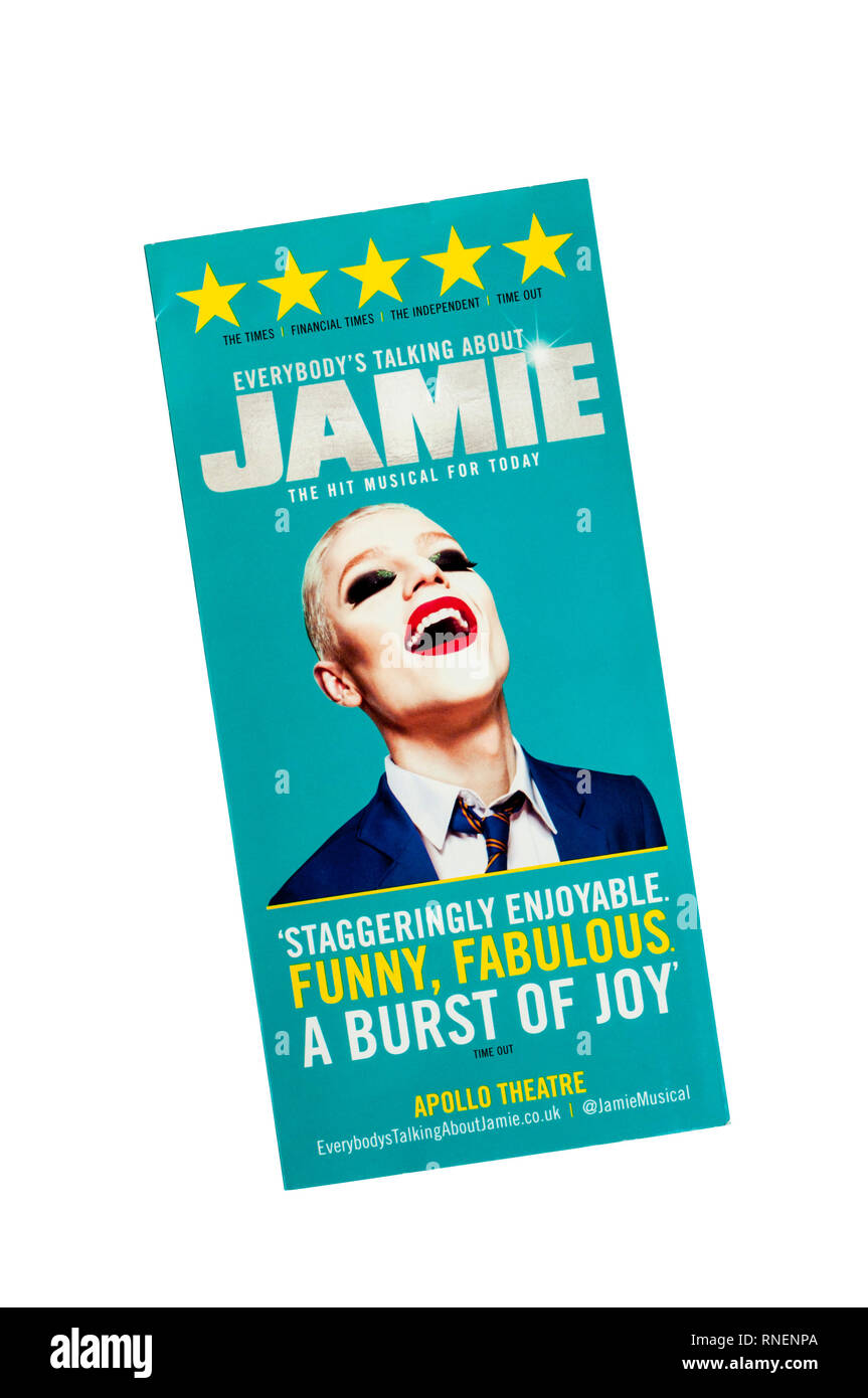 Promotional flyer for 2017 production of Everybody's Talking About Jamie at the Apollo Theatre. - Stock Image