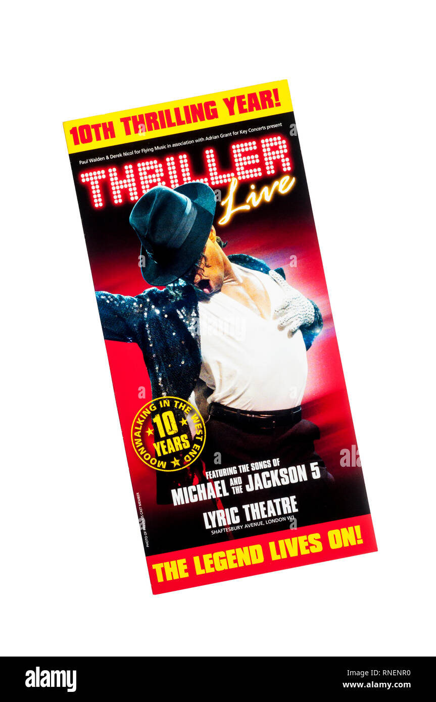 Promotional flyer for Thriller Live, a concert revue featuring the music of The Jackson 5 and Michael Jackson.  At the Lyric Theatre. - Stock Image