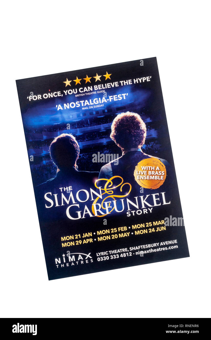 Promotional flyer for The Simon & Garfunkel Story at the Lyric Theatre. - Stock Image